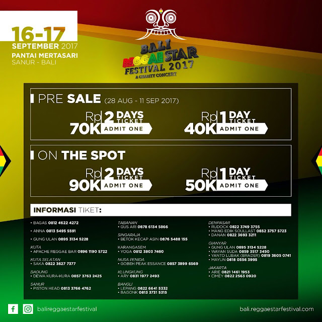 Inilah Harga Tiket Bali Reggae Star Festival 2017