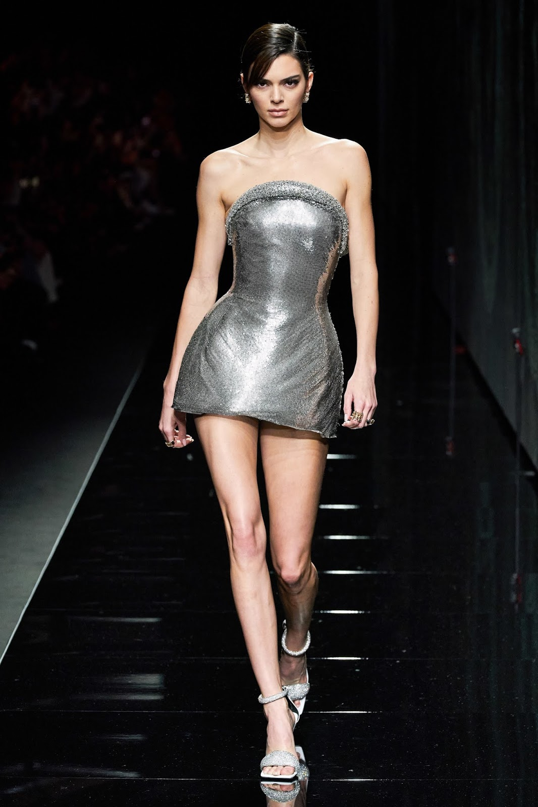 Kendall Jenner closes the Versace FW20 Milan Fashion Week Show in a daring mini dress