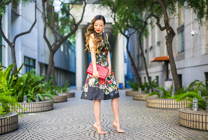 Embroidered floral print dress, wedding guest dress, baublebar earrings, teri jon dress, christian louboutin so kate pumps, saint laurent clutch, spring outfit ideas