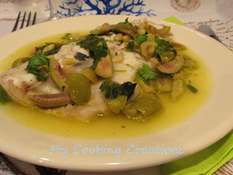Филе от ципура на тиган с вино и маслини