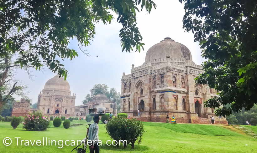 Continuing our explorating of our favorite city Delhi with the new smartphone on the block - Honor 5c, our next stop was the park that offers different things to different people - Lodhi Gardens. For people in search of greenery, Lodhi Gardens offer trees of a wide variety and velvetty carpet-like lawns. For people in search of birds butterflies, there are 100s of species that can be spotted here. For health-freaks, there's an open gym and walking tracks. For people in search of history and architecture, there are four structures from the time of the Lodhis. For couple looking for some us-time, there is plenty on offer. Even for kids there are options of entertainment such as hillocks and swings.  If you happen to be at Lodhi Gardens early in the morning, you will not only see joggers and walkers, but also people doing various activities such as yoga, aerobics and other sports. come a little late and you will come across people walking various breeds of dogs. In the afternoon, the garden transforms into a lovers' paradise, and in the evening, families descend upon it to sit in the grass, to let their toddlers play, and to feed the geese and ducks. Talking about geese and ducks, there are some very friendly Geese and some reclusive ducks near the little artificial lake. The geese like to stay around people and on days when the birds are feeling extra-social, you can easily walk amongst them without having your feet pecked at by them. These geese are very popular with the people visiting the park and receive a lot of love in the form of bread crumbs and corn. The ducks though prefer to stay at the other end of the lake, or on the tiny island in the middle of the lake. They make it clear that they don't like people. Apart from these, there are other birds such as egrets, parrots, kingfishers, and a strange green bird, we don't know the name of. The monuments in the garden are Mohammad Shah's tomb, Sikandar Lodi's tomb, Shisha Gumbad, and Bada Gumbad, all built by the L