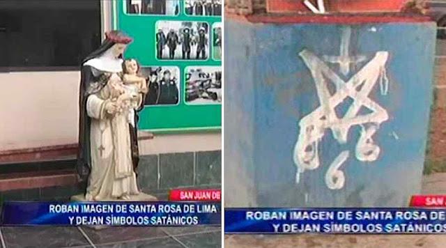 Imagem de Santa Rosa de Lima substituída por símbolos satânicos, Lima, Peru.