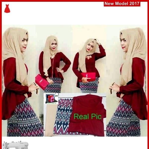 MSF0102 Model Hijab Maroon Narayya Peplum Tribal