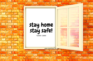 Corona safety images stay home stay safe take care. brick wall with open window