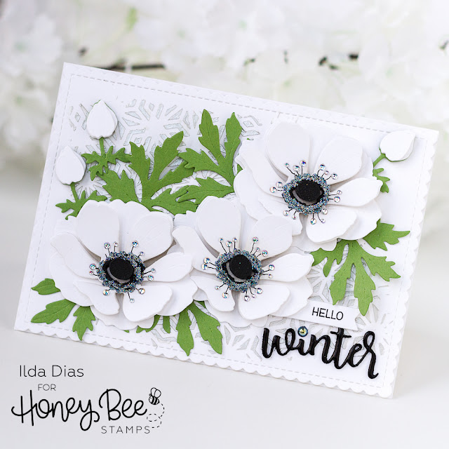 Vintage Holiday, Release,Sneak Peeks,Honey Bee Stamps, Lovely Layers, Anemones Dies,Winter, White, Card Making, Stamping, Die Cutting, handmade card, ilovedoingallthingscrafty, Stamps, how to,Floral Card,