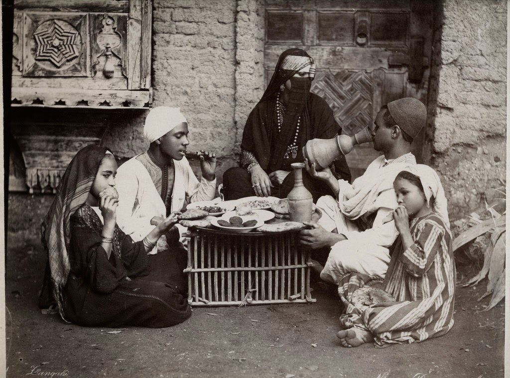 Arab Family Taking their Food - Egypt, c1880's