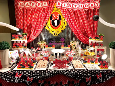 Elegant Minnie Mouse themed Dessert Buffet set-up