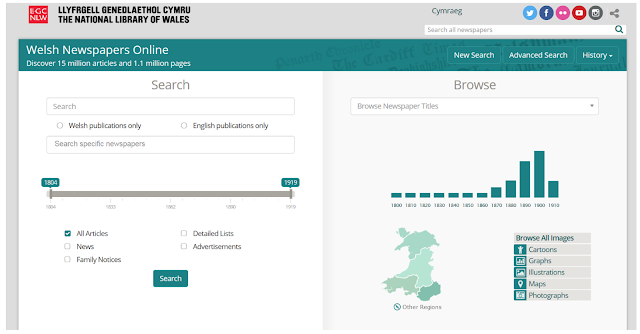 The search page of the National Library of Wales' fabulous 'Welsh Newspapers Online'
