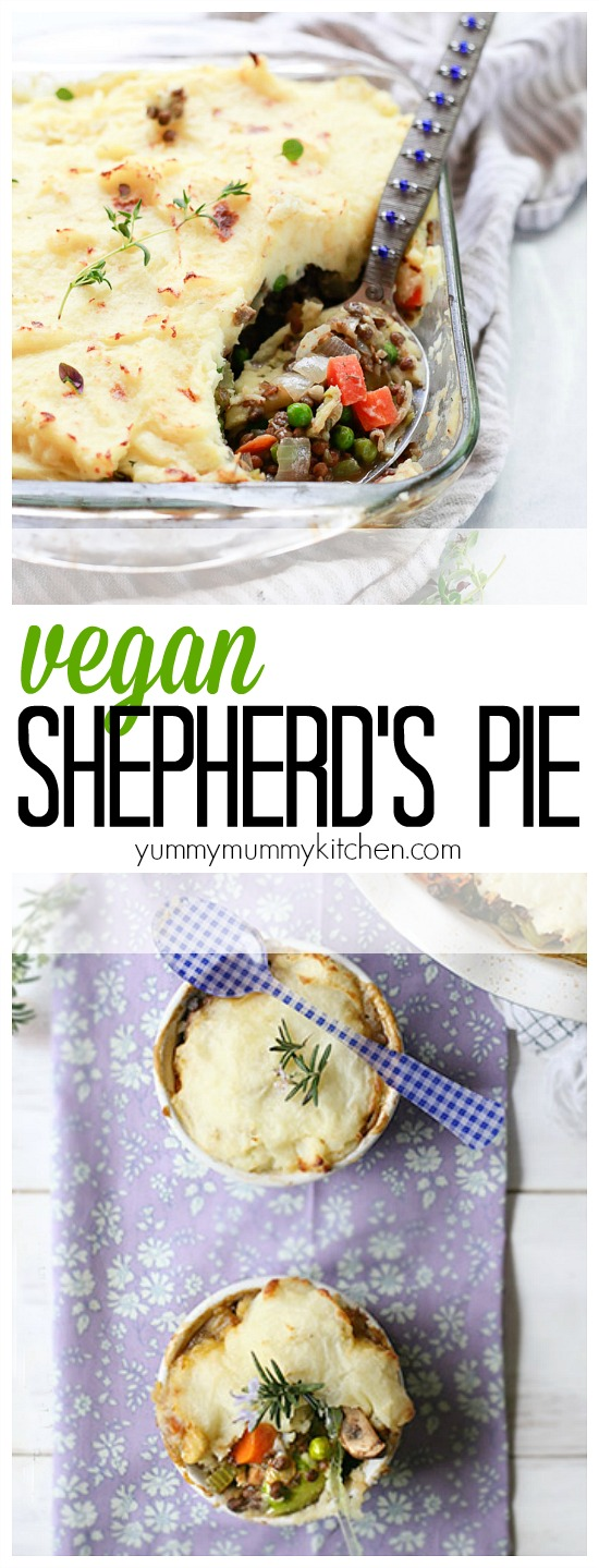 """This vegan Shepherd's Pie, or """"Shepherdless pie"""" is made with lentils, peas, carrots, mushrooms, mashed potatoes, and more. It's a delicious vegan comfort food recipe perfect or everything from Thanksgiving, Christmas, and St. Patrick's Day, to weeknight dinner."""