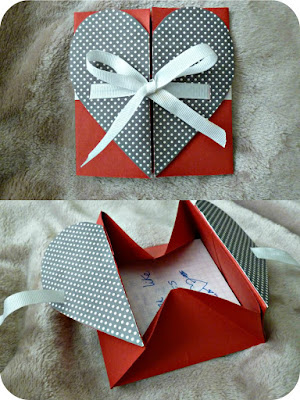 Heart envelope that when ribbon is untied opens up into a box with a message inside.