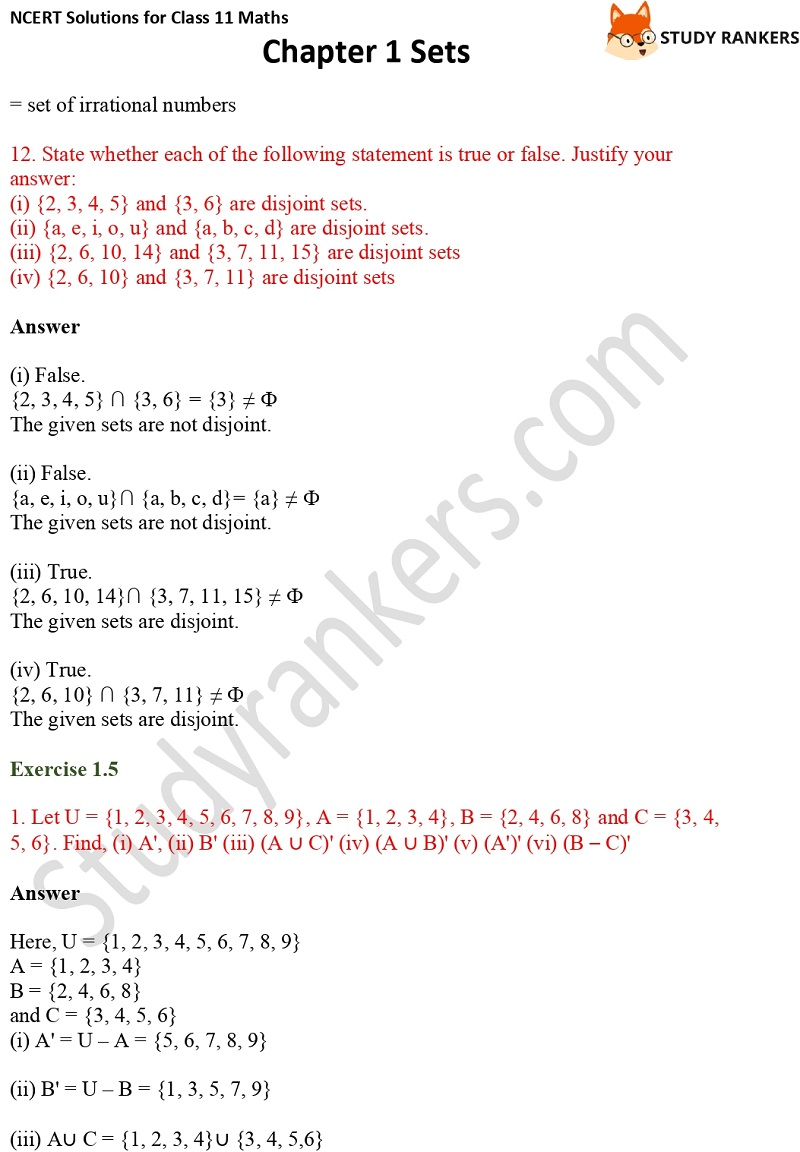 NCERT Solutions for Class 11 Maths Chapter 1 Sets 15