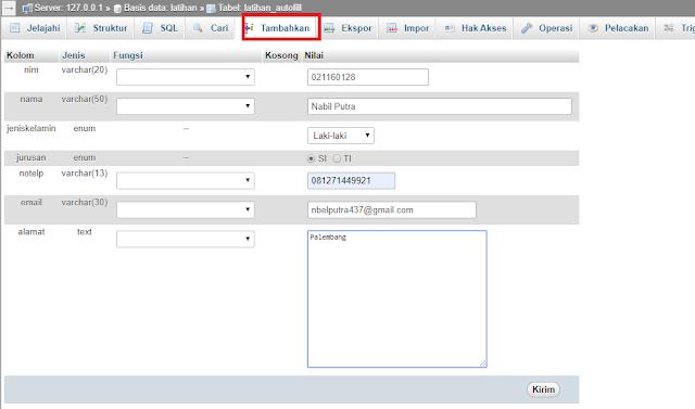 sahretech - cara menambahkan data lewat UI phpmyadmin
