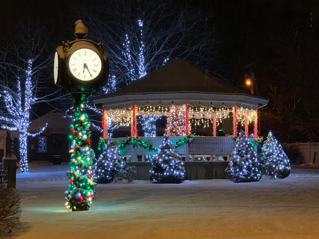 Monson MA Police Department's photo of Monson town square decorated for Christmas