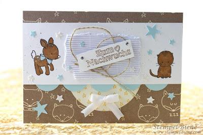 Stampin Up Zum Nachwuchs, Babykarte Stampin Up, Match the Sketch, Stempel-biene, Babykarte basteln, Babykarte mit Katze, Babykarte Junge