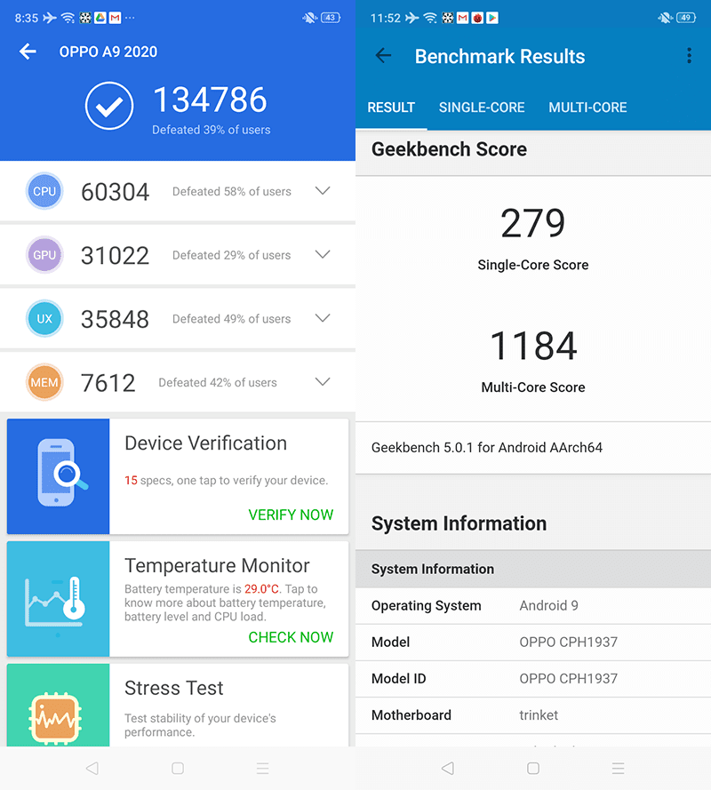 AnTuTu and Geekbench score of the phone