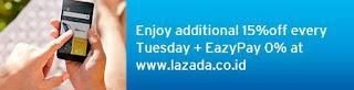Promo kartu Kredit Lazada, Diskon 15%