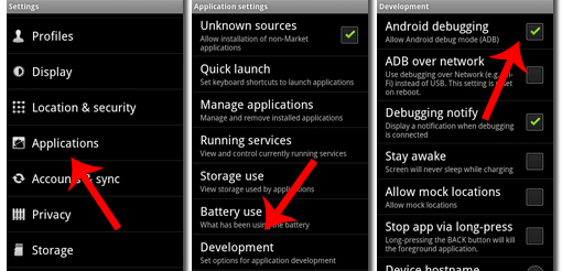 Enable mode US Android Eclair, Android Froyo, Android GingerBread