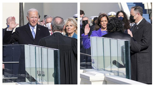 Biden and Harris taking their oaths on inauguration day