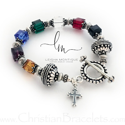 Salvation Bracelet shown with a Fancy Cross Charm and Beaded Toggle Clasp (.925 sterling)