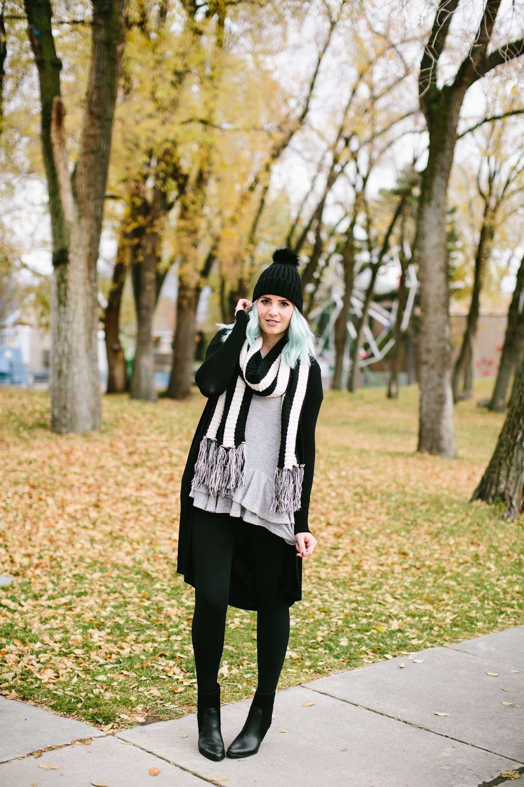 High Waist Leggings, Black and White, Fall Outfit