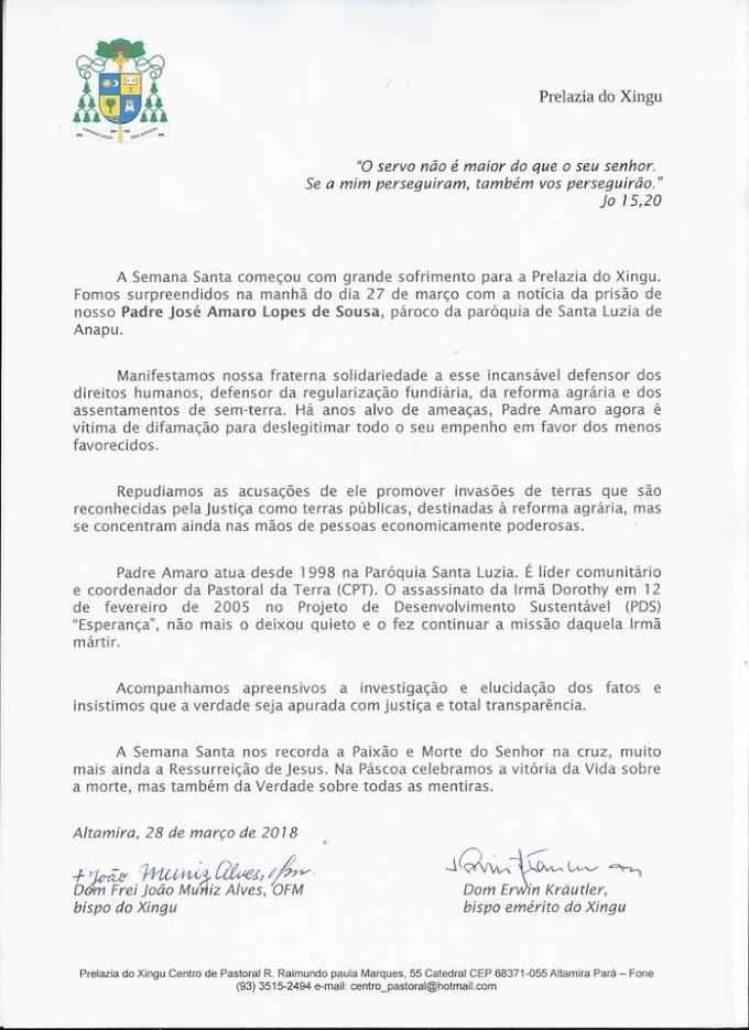 Caso Pe. Amaro: Prelazia do Xingu e CPT emitem nota sobre prisão do religioso