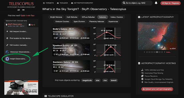 The Insight Observatory Astronomical Telescopes for Educational Outreach (ATEO) locations are listed on the Telescopius Observatory Parameters section.