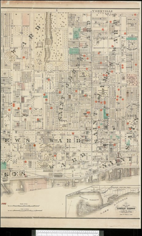 1872 Wadsworth & Unwin Map of the City of Toronto showing Tax Exemptions - C