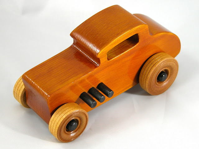 Top Left Front - Wood Toy Cars - Wooden Cars - Wood Toys - Wooden Car - Wood Toy Car - Hot Rod - 1932 Ford - 32 Deuce Coupe - Little Deuce Coupe - Roadster - Race Car