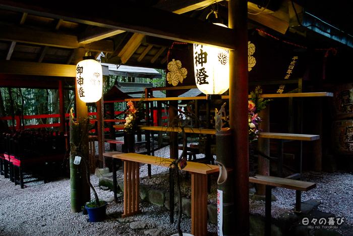 lanternes illuminées, nonomiya-jinja, bambouseraie d'arashiyama, Kyoto