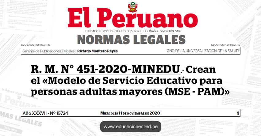 R. M. N° 451-2020-MINEDU.- Crean el «Modelo de Servicio Educativo para personas adultas mayores (MSE - PAM)»
