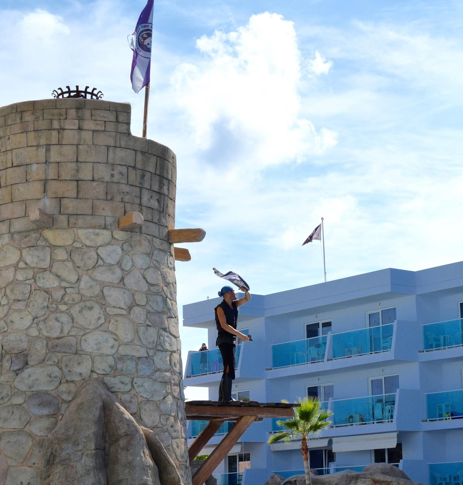 Pirate Swimming Pools and Mermaid Lessons at Pirates Village, Majorca - walking the plank