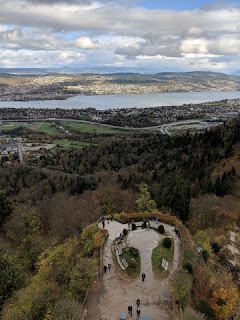 Looking down and across the Zürichsee from the viewing tower atop the Uetliberg, Zürich, Switzerland