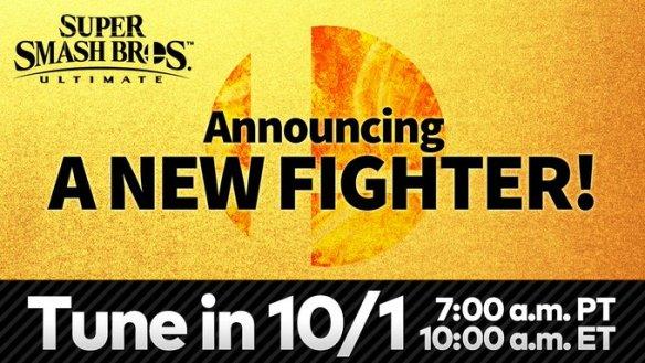 Nintendo revelará el 1 de octubre de 2020 el nuevo peleador del segundo Fighters Pass de Super Smash Bros Ultimate