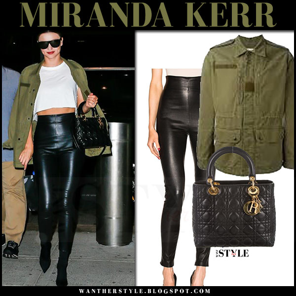 Miranda Kerr in green military saint laurent sweet dreams canvas jacket and black leather leggings theperfext jessica what she wore