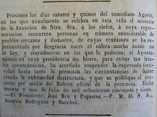 L'ajuntament d'Elx suspen les festes d'agost a causa del còlera