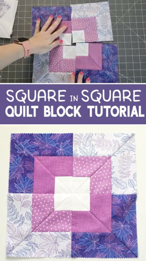 Square in Square Quilt Block - Free Pattern