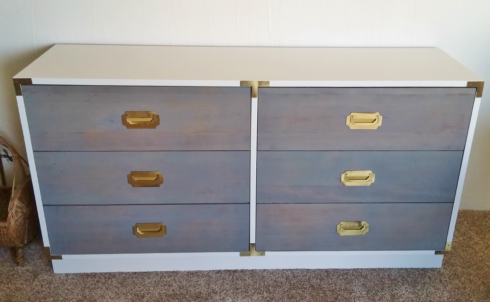 two-tone refinished campaign dresser