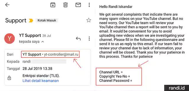 Email Phising dari YT Support