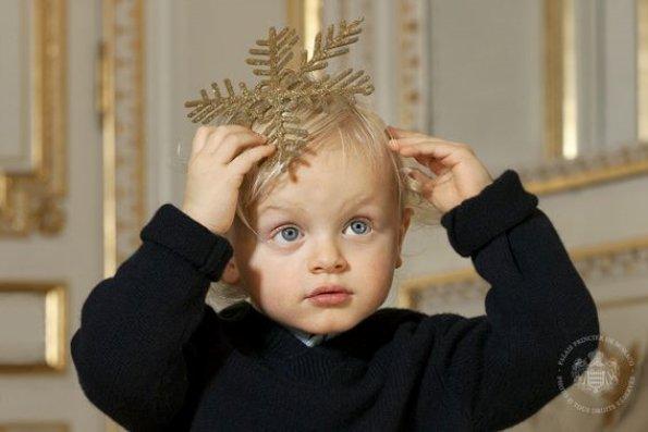 Prince Albert, Princess Charlene and their twins, Prince Jacques and Princess Gabriella, 2016 Christmas Card. Princess Charlene wore Ralph Lauren Backless Sequin Dress