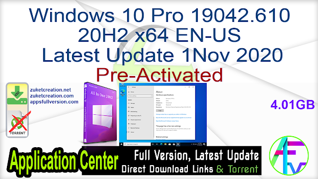 Windows 10 Pro 19042.610 20H2 x64 EN-US Latest Update 1Nov 2020 [Pre-activated]