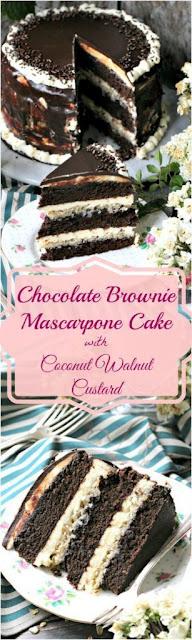 Homemade Chocolate Brownie Cake with Vanilla Mascarpone Butter Cream