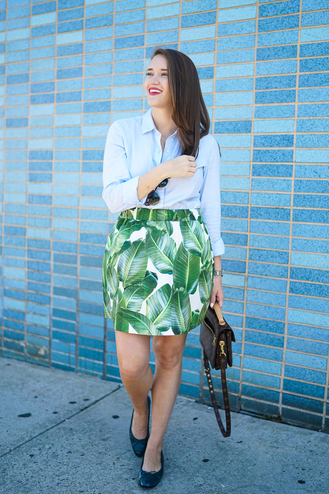 PARTYSKIRTS Alexandra Palm Skirt, Covering the Bases, Krista Robertson, Palm Tree pattern, Fashion Blogger
