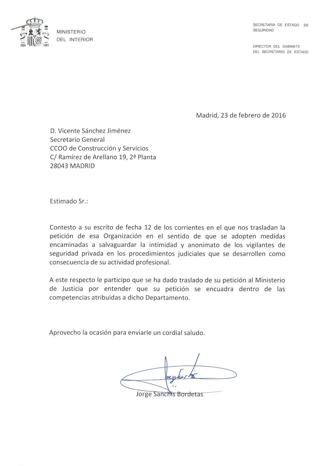 Casesaseccionsindicalccoo consultas al ministerio del for Correo ministerio del interior