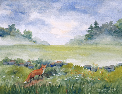 Original 8x10 watercolor painting of a red fox and rain drenched field at dusk
