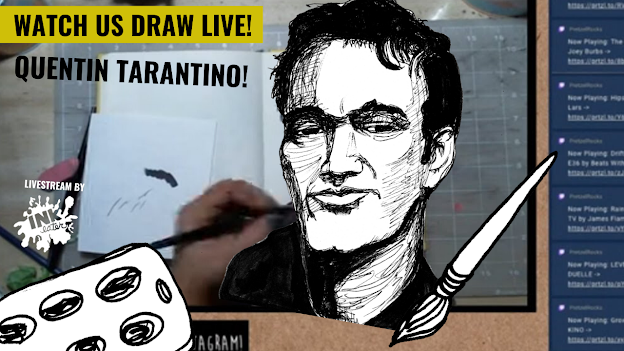 We Drew Quentin Tarantino aka the Dude Who Made Pulp Fiction - Live Time lapse!