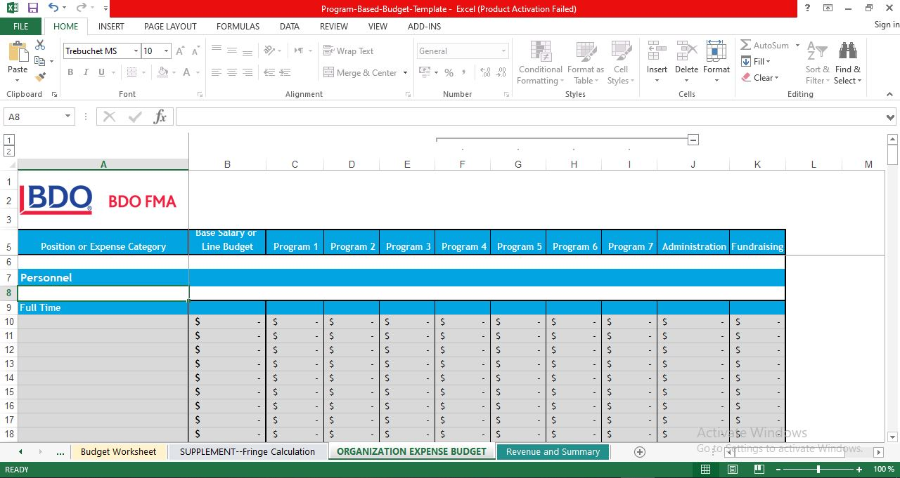 ORGANIZATION EXPENSE BUDGET template