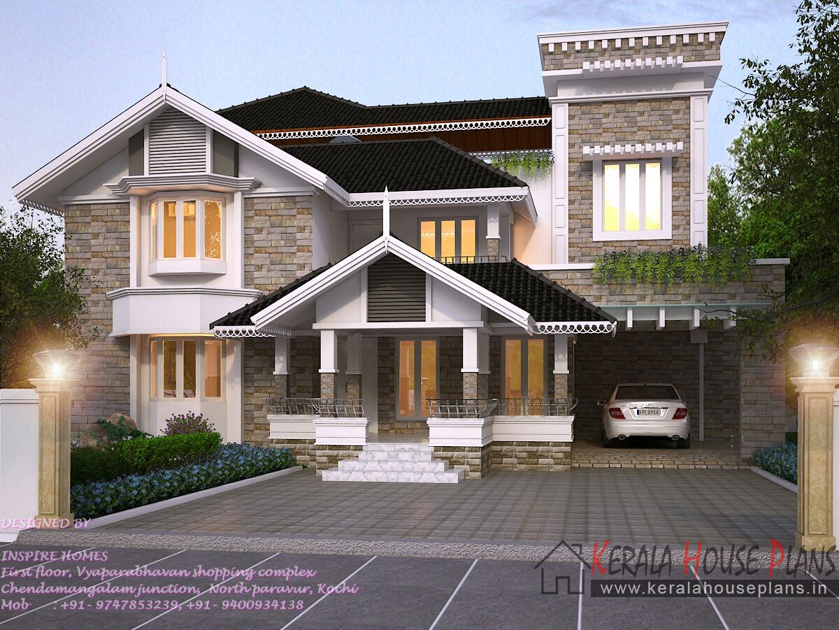 Kerala home elevation and plan with 4 Bed room