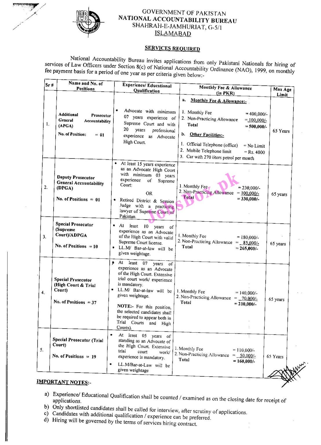 www.nab.gov.pk Jobs 2021 - National Accountability Bureau NAB  Jobs 2021 in Pakistan