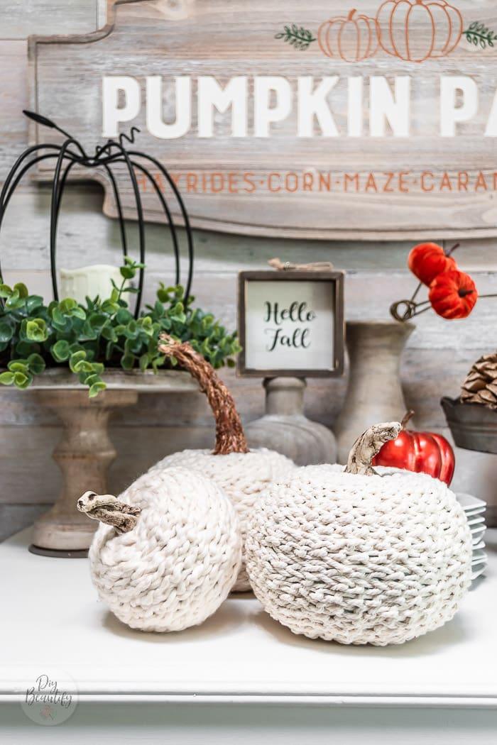 cotton crochet chain pumpkins on white dresser with Fall decor