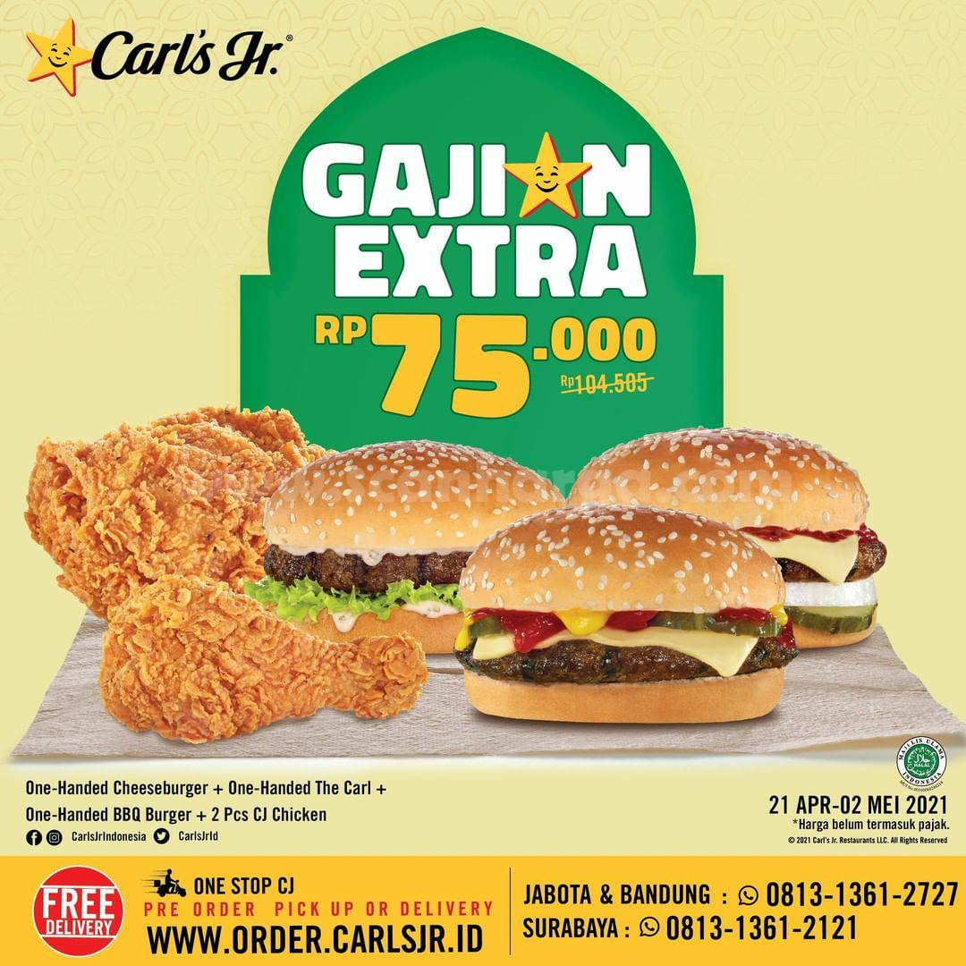 Promo Carl's Jr Gajian Extra  21 April - 2 Mei 2021